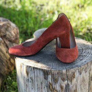 LK Bennett Sersha Suede Burnt Orange Block Heel 38